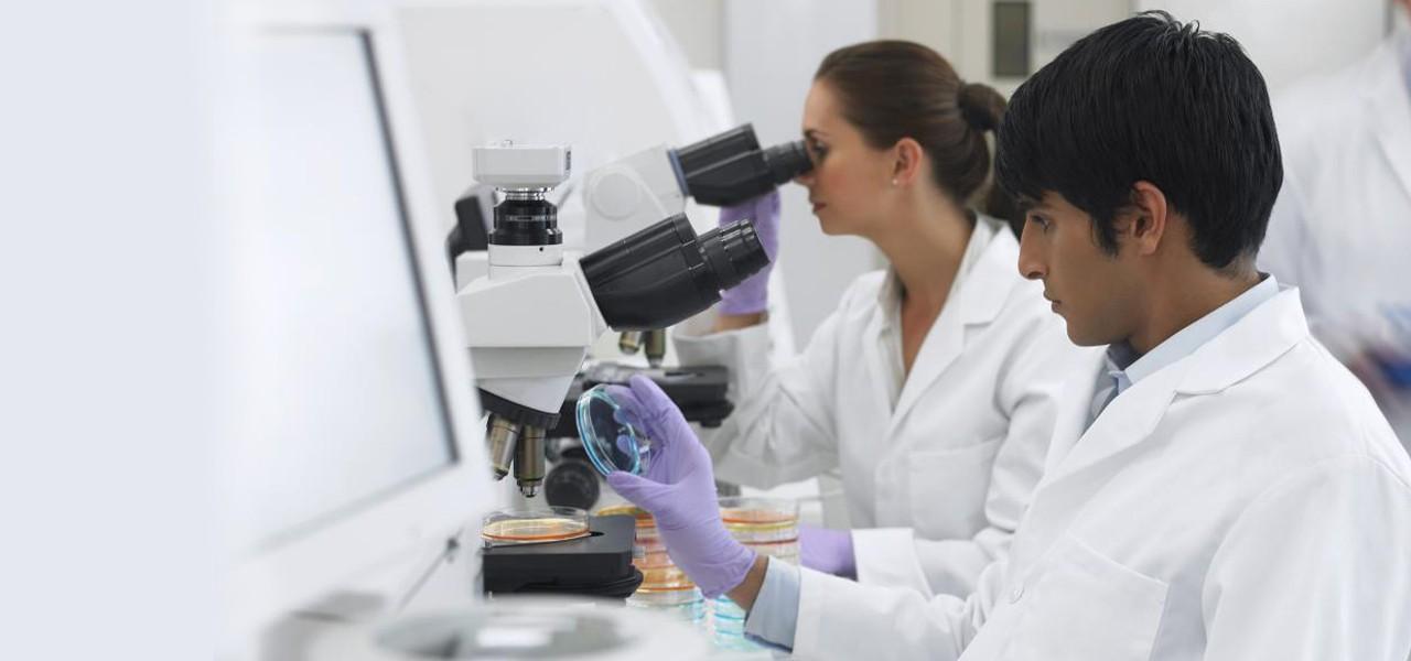 Operatori in laboratorio per analisi prodotti